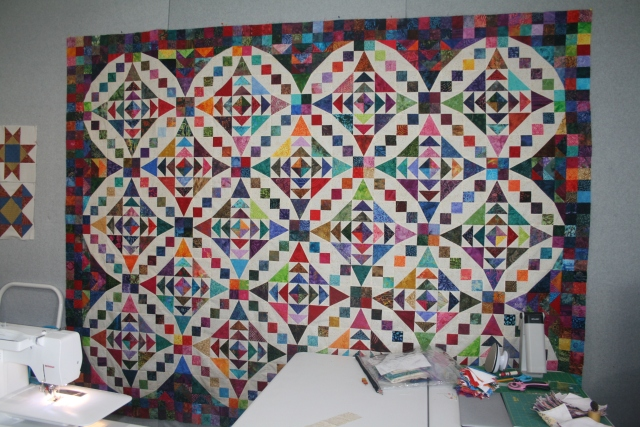 Cathy got to finish her faceted jewels quilt