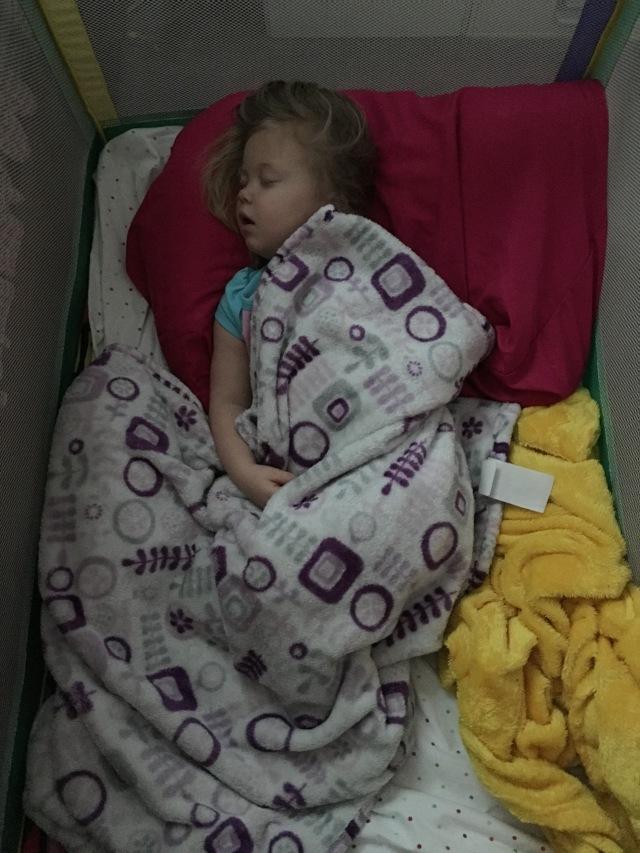 Kynlee sleeping through it all