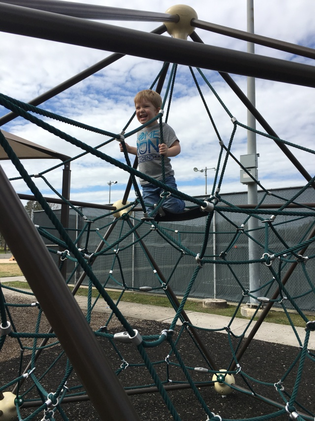 time at the park, he climbed up there all by himself