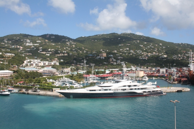 St Thomas, notice the helicopter at the back of the yacht