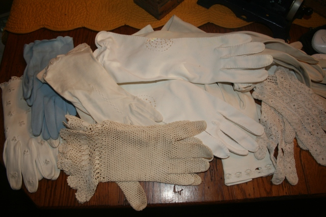 look at these lovely gloves.  I had fun trying them on and remembering when I was young.
