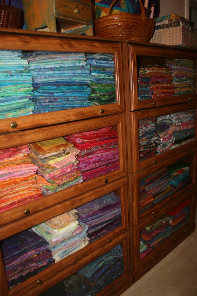 upstairsat Sharon's, loved seeing all the fabric