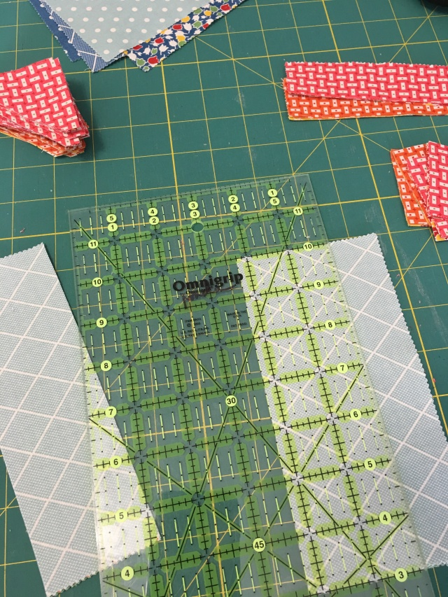 another view of the strips for the half-squares