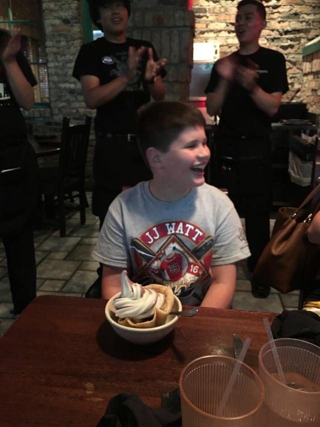 Dylan enjoying the singing