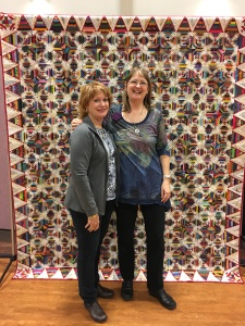 here we are in front of her quilt candy